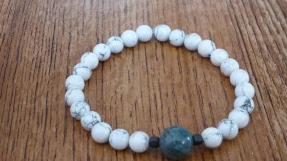 Howlite, Blue Jade & Hematite Bracelet