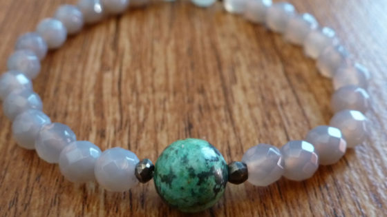 Grey Agate & African Turquoise Bracelet