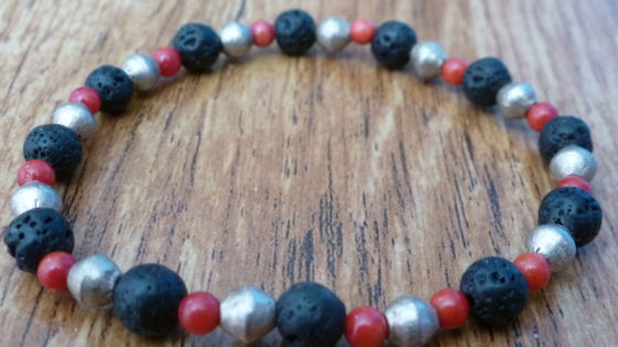 Lava, Red Coral & Tibetan Gold Bracelet