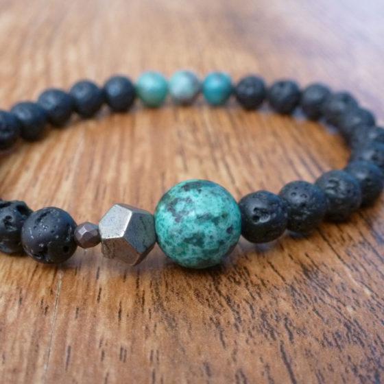 Lava, African Turquoise & Cuprite Bracelet