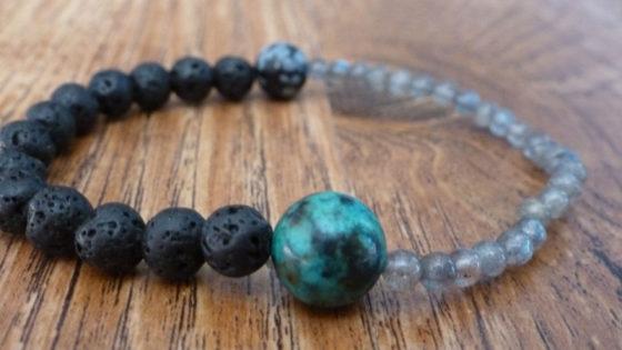 Labradorite & Snowflake Obsidian Bracelet