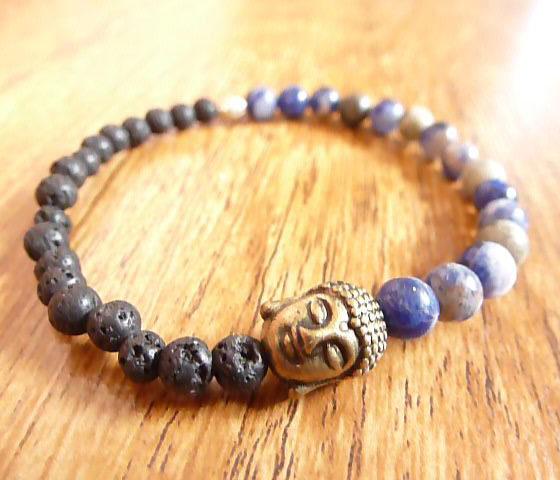 Sodalite, Lava & Tibetan Gold Bracelet