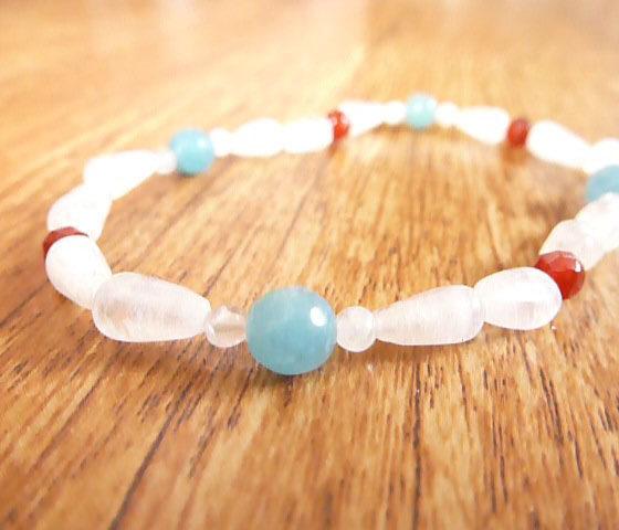 Moonstone, Aquamarine & Carnelian Bracelet