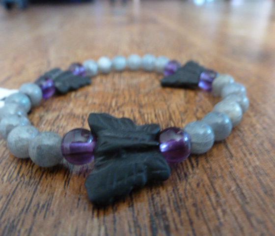 Labradorite, Amethyst & Onyx Bracelet