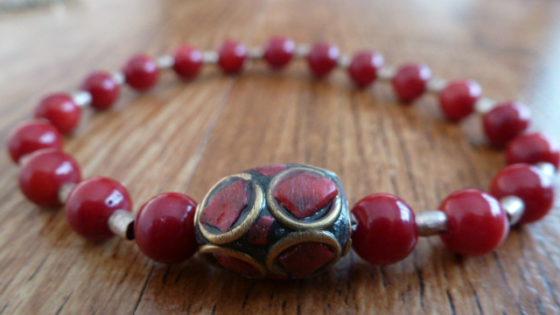 Red Coral & Tibetan Bead Bracelet