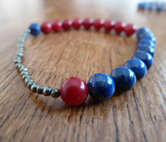 Lapis Lazuli, Red Coral & Pyrite