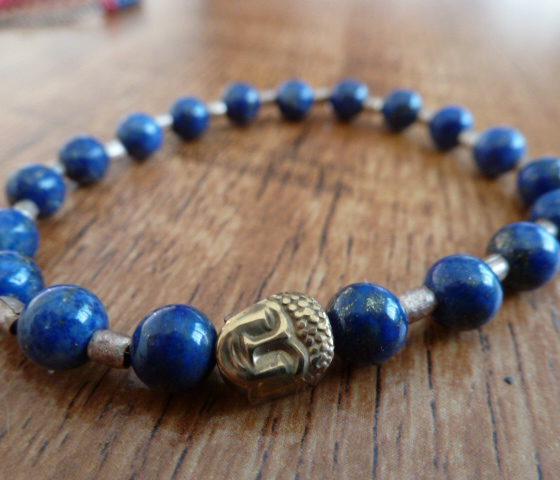 Lapis Lazuli & Tibetan Gold Bracelet